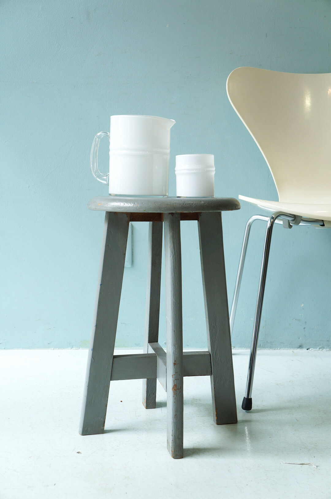 Vintage Round Atelier Stool Painted Gray/ヴィンテージ ラウンドアトリエスツール 丸椅子 グレーペイント シャビーシック 1