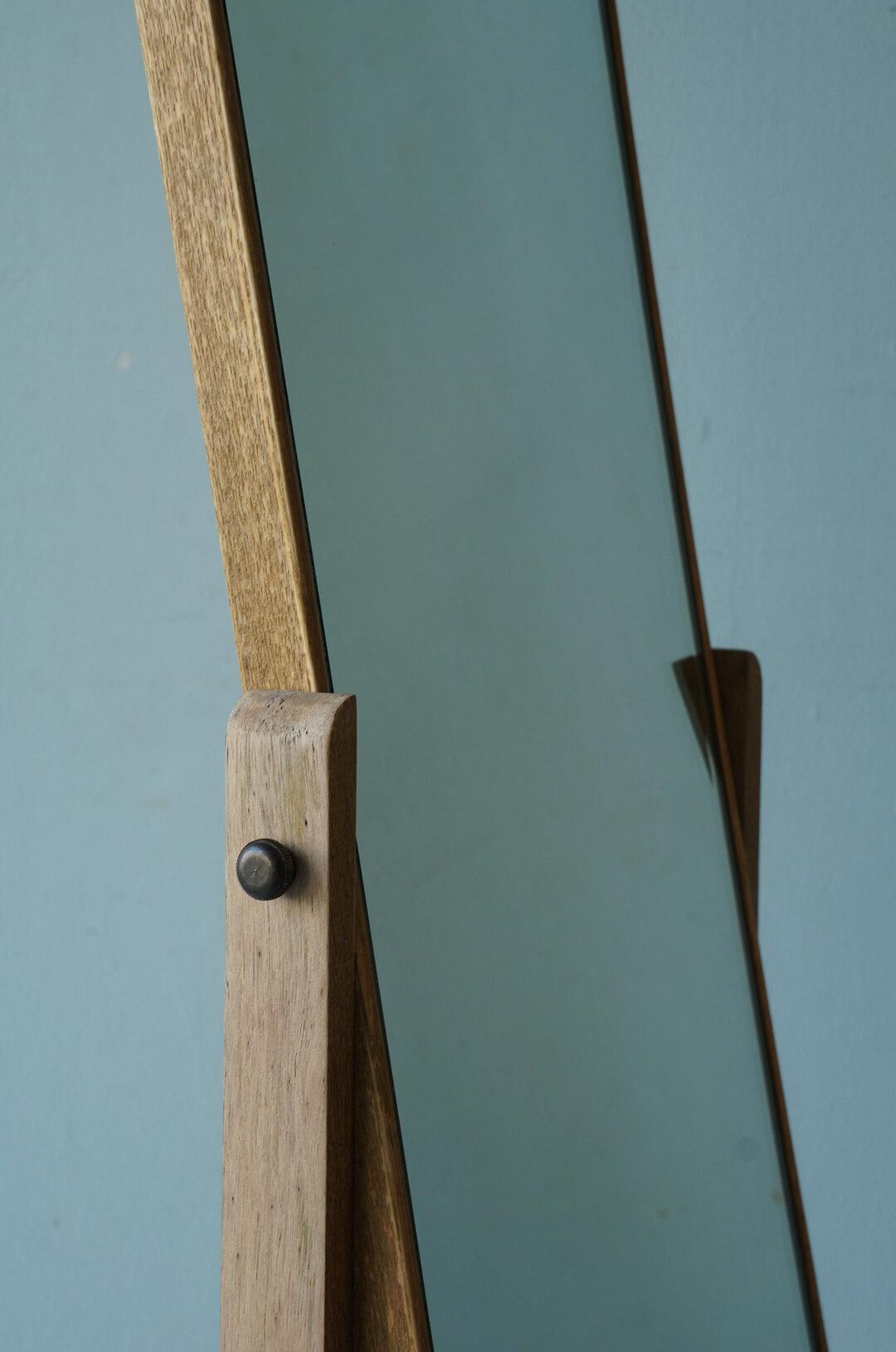 Japanese Vintage Wooden Stand Mirror/ジャパンヴィンテージ 姿見 スタンドミラー 鏡 昭和レトロ インテリア