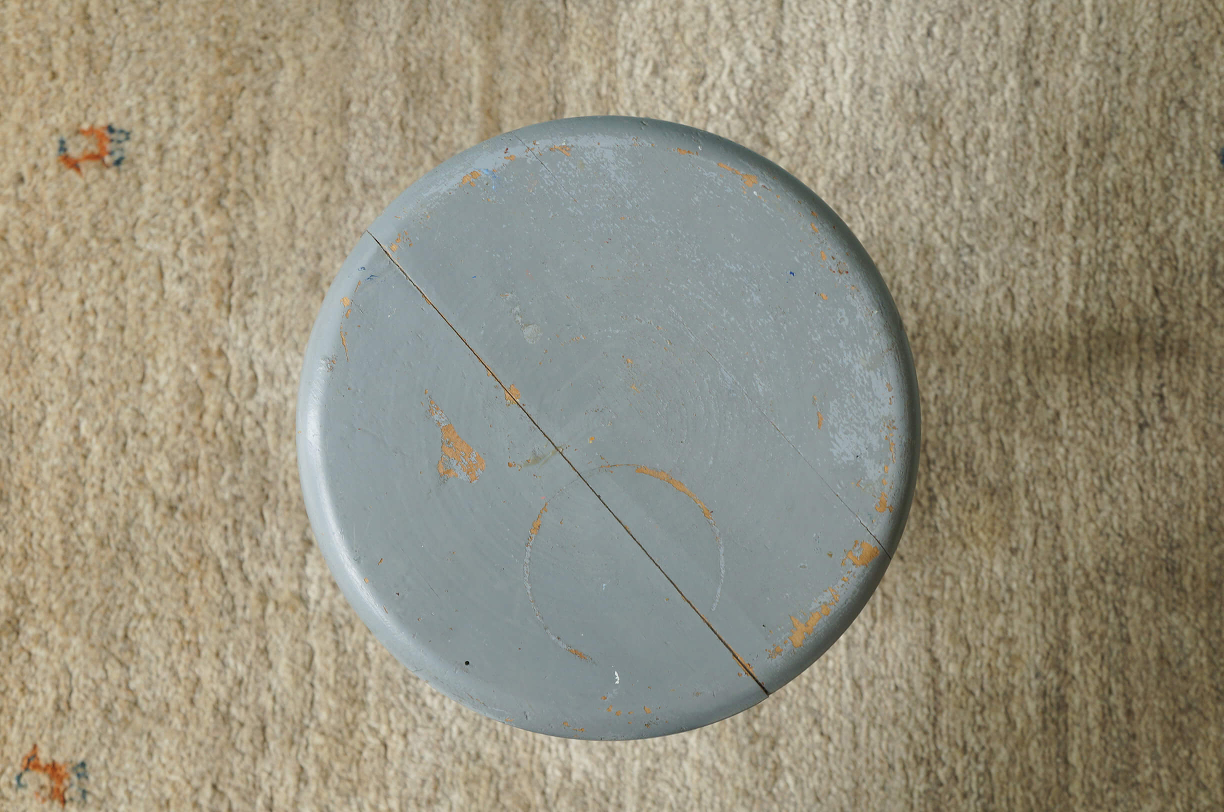 Vintage Round Atelier Stool Painted Gray/ヴィンテージ ラウンドアトリエスツール 丸椅子 グレーペイント シャビーシック 2