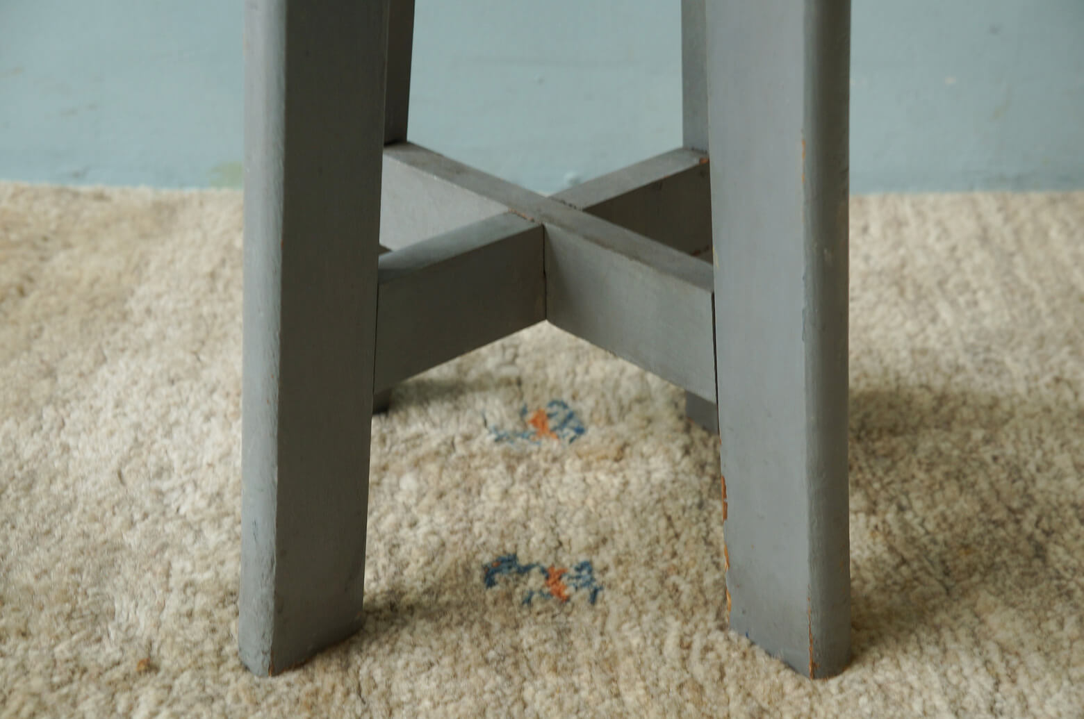 Vintage Round Atelier Stool Painted Gray/ヴィンテージ ラウンドアトリエスツール 丸椅子 グレーペイント シャビーシック 3