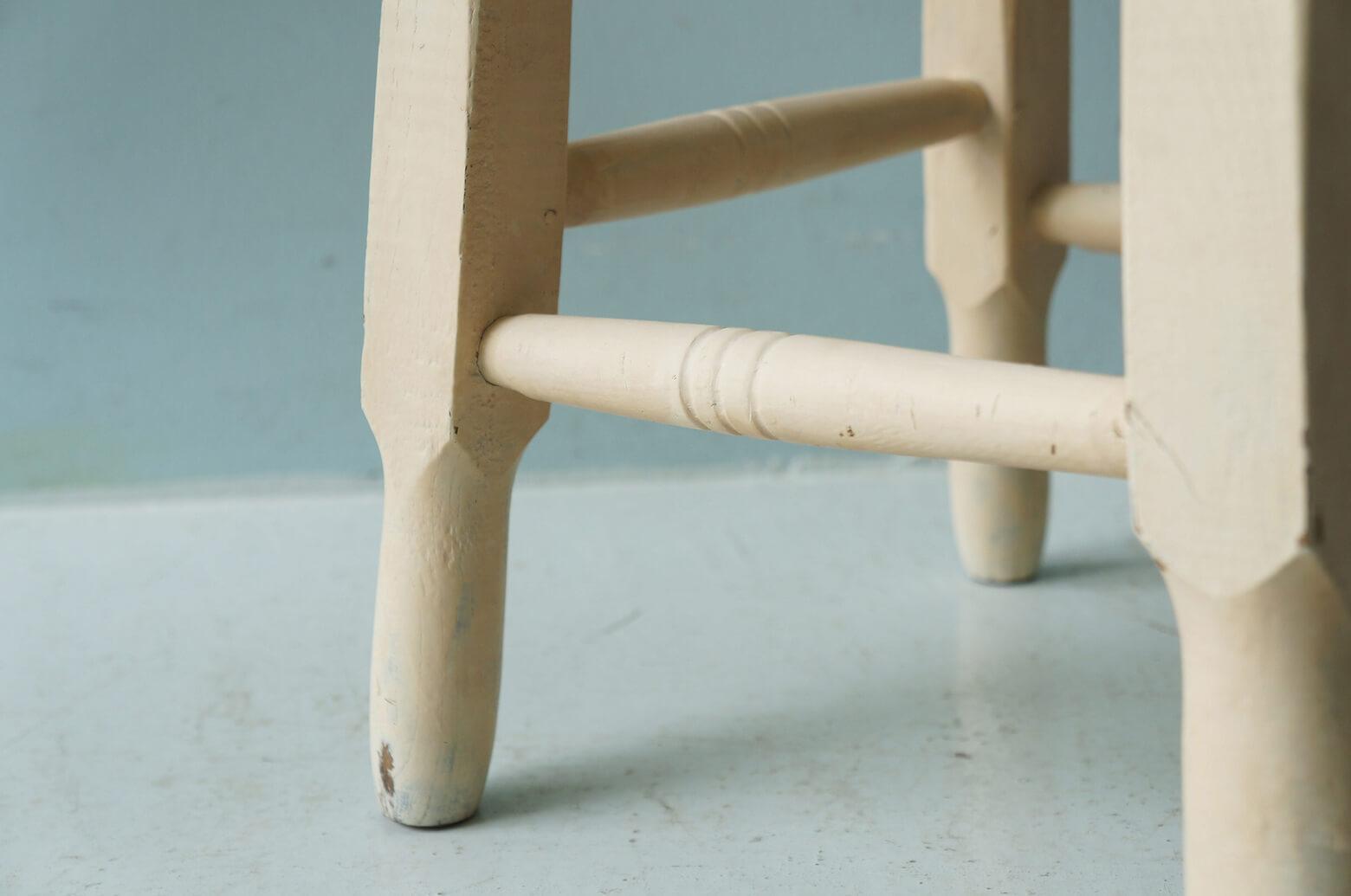 Vintage Round Stool Painted White/ヴィンテージ スツール ホワイトペイント シャビーシック アンティーク 丸椅子