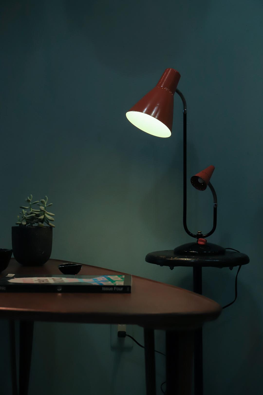 1950's Midcentury Vintage Twin Gooseneck Table Lamp/ミッドセンチュリー ヴィンテージ テーブルランプ グースネック ダブルシェード 照明