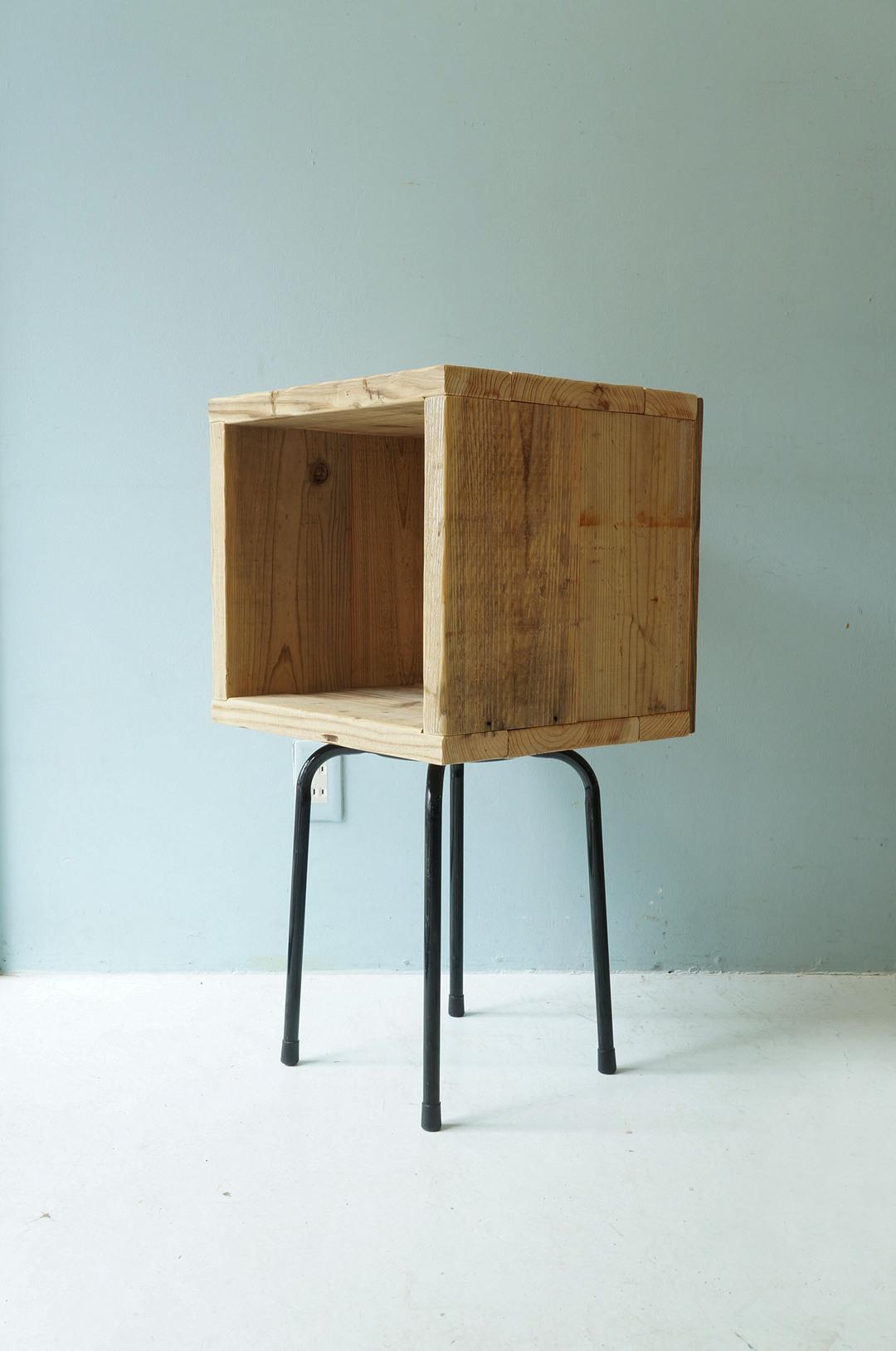 Pine Wood Box With Iron Leg/ウッドボックス パイン材 アイアン ディスプレイ ラック インダストリアル 1