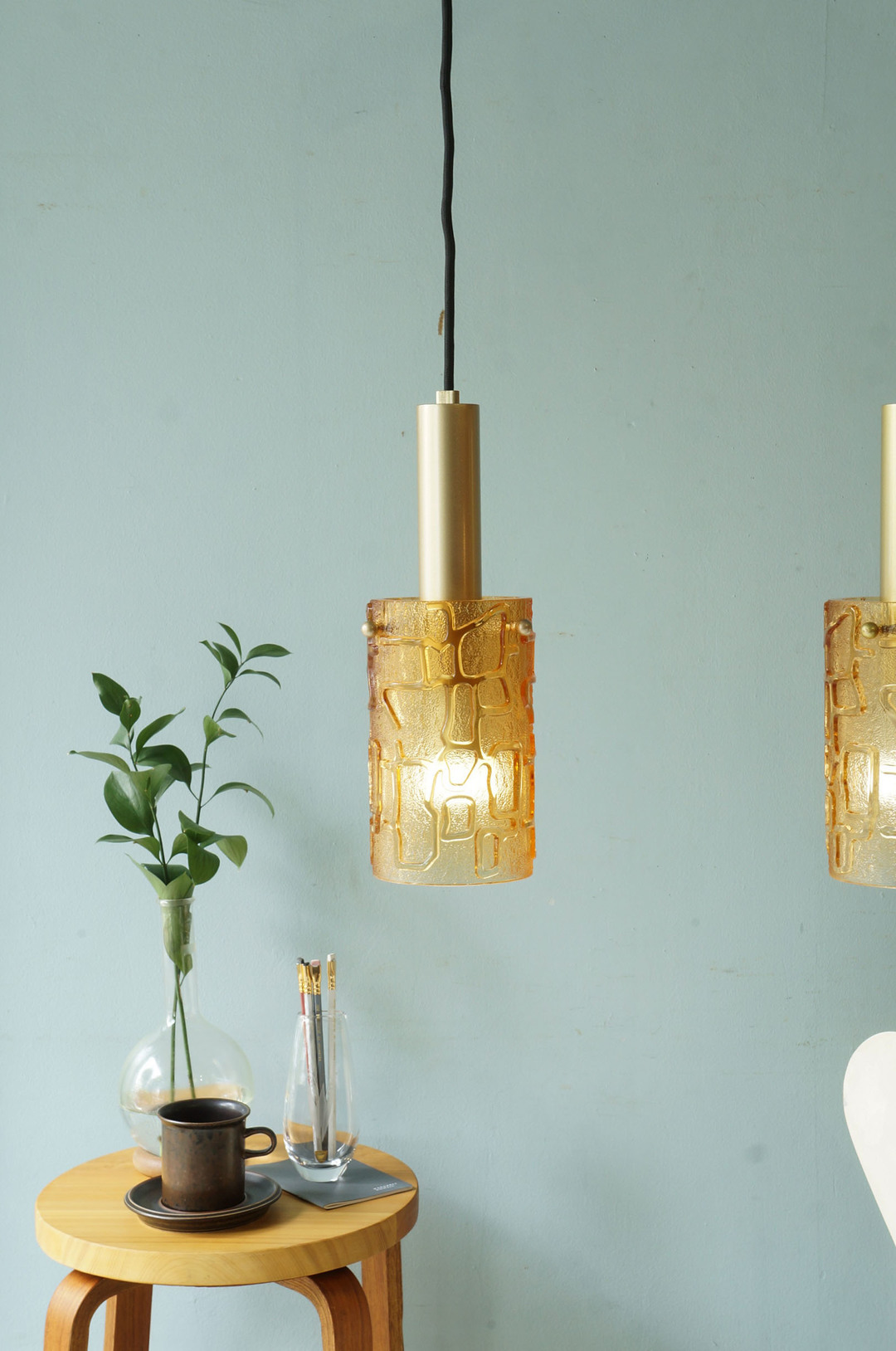 Scandinavian Vintage Style Amber Glass Pendant Light/アンバーガラス ペンダントライト 北欧モダン 照明 レトロ ヴィンテージスタイル 1