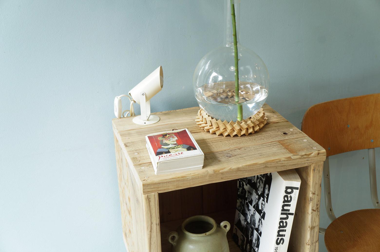 Pine Wood Box With Iron Leg/ウッドボックス パイン材 アイアン ディスプレイ ラック インダストリアル 2