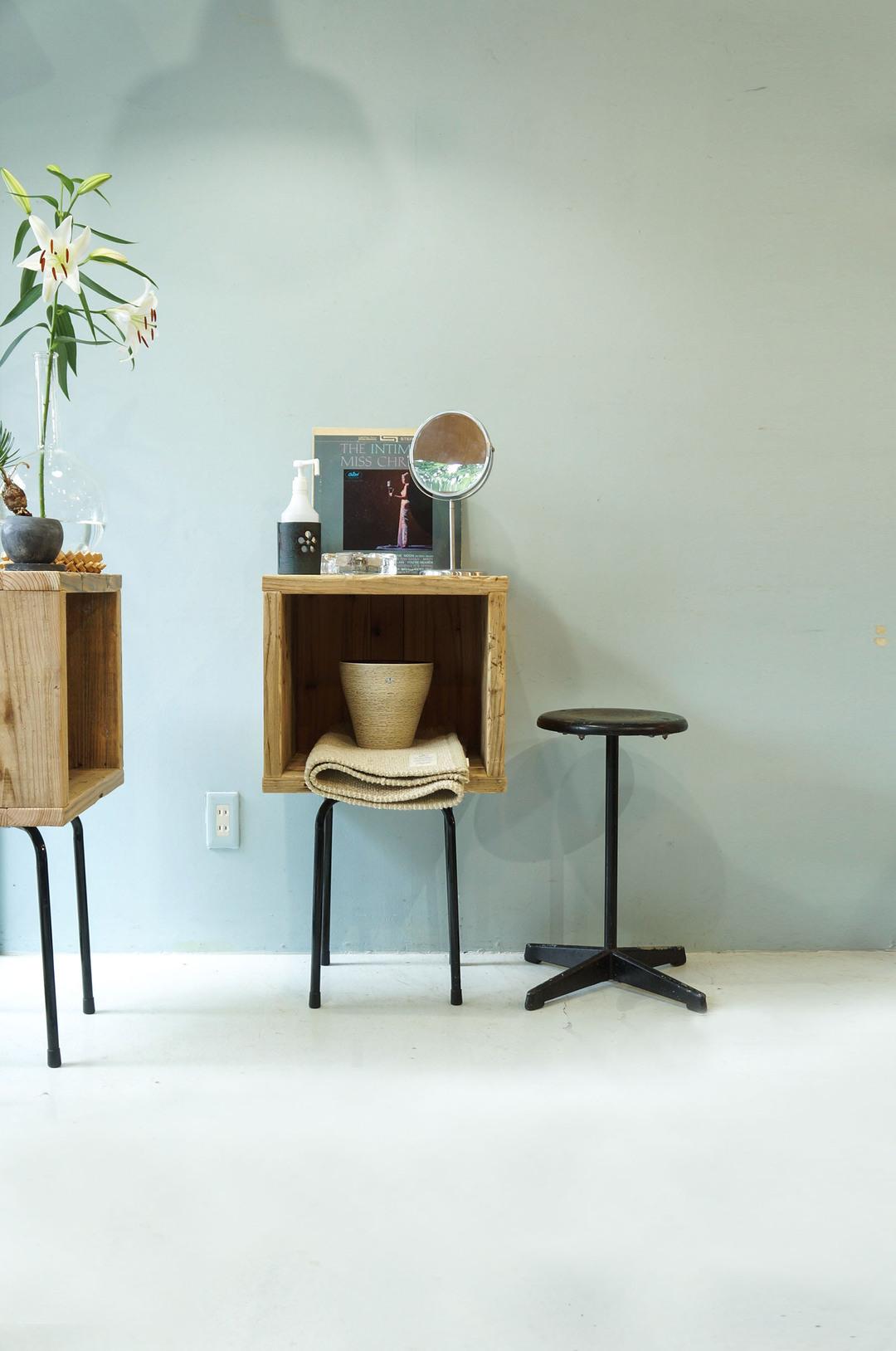 Pine Wood Box With Iron Leg/ウッドボックス パイン材 アイアン ディスプレイ ラック インダストリアル