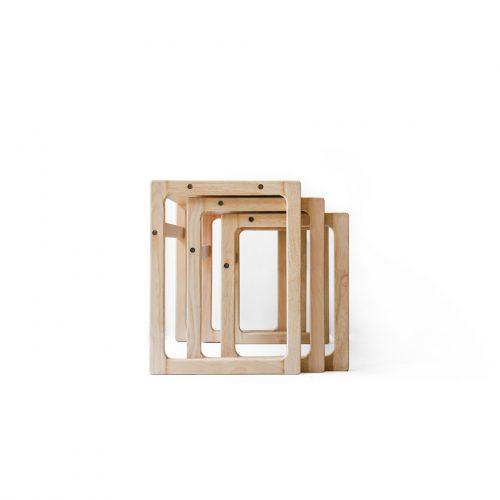 Japanese Vintage Beech Wood Nesting Table/ジャパンヴィンテージ ビーチ材 ネストテーブル 飾り台 ナチュラル 北欧モダン