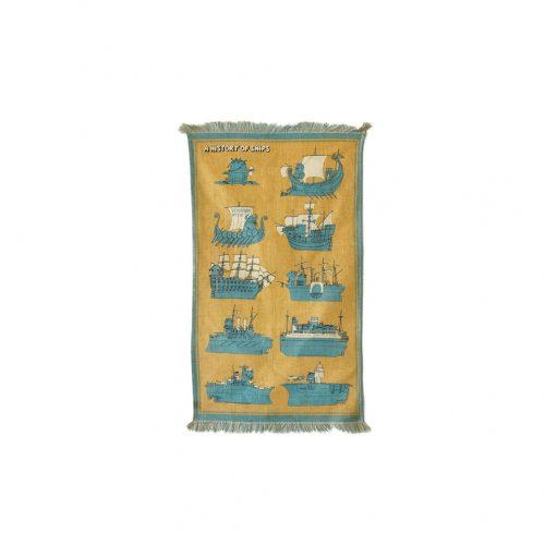 "Yanagihara Ryohei Tapestry ""A History Of Ships""/柳原良平 タペストリー 船の歴史 サントリー ノベルティ レトロ"