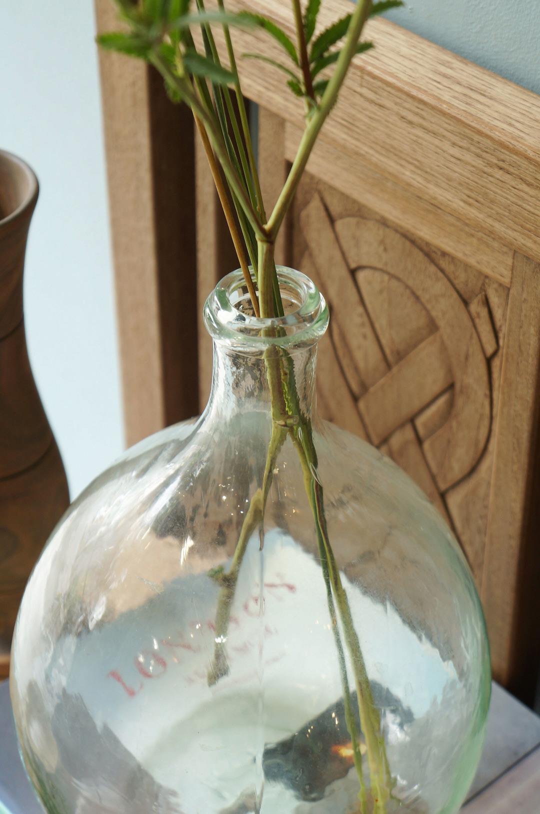 France Antique Demijohn Bottle/フランス アンティーク デミジョンボトル ガラス瓶 フラワーベース 古道具 シャビーシック ブロカント