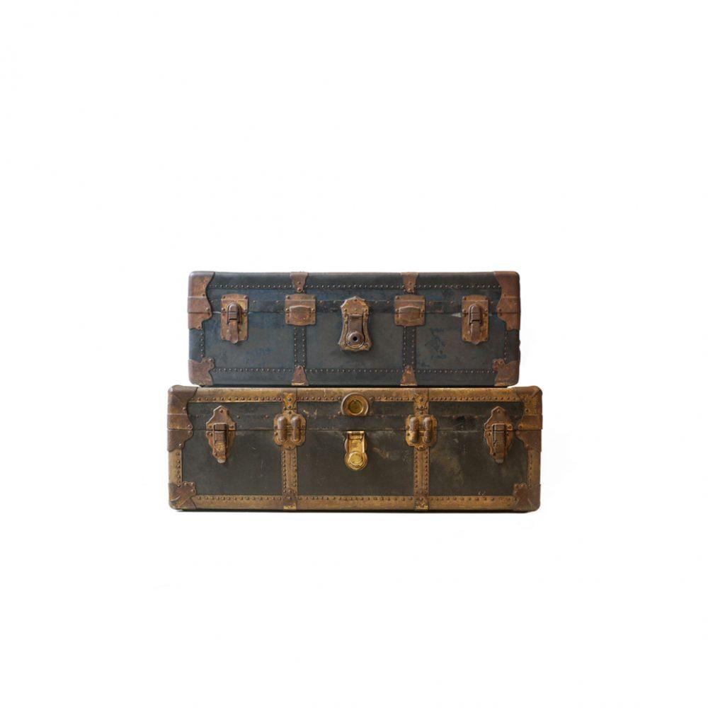 US Antique Steamer Trunk/アメリカ アンティーク スチーマートランク スーツケース ディスプレイ チェスト ボックス 収納