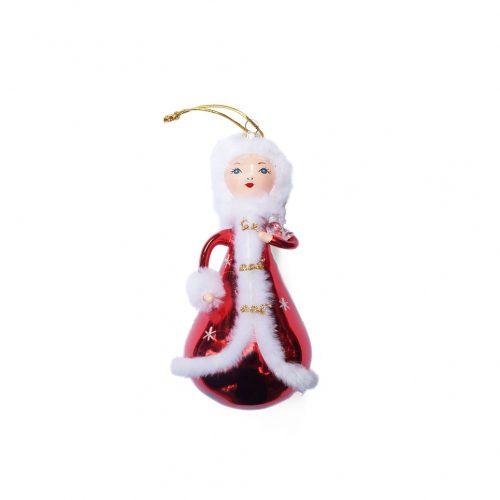 Blown Glass Christmas Ornament Doll/クリスマスオーナメント 吹きガラス レトロ 人形 貴婦人と小鳥 3
