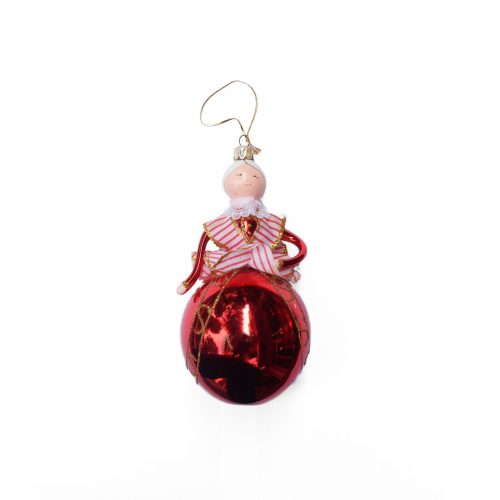 Blown Glass Christmas Ornament Doll/クリスマスオーナメント 吹きガラス レトロ 人形 赤い衣装の貴婦人 2