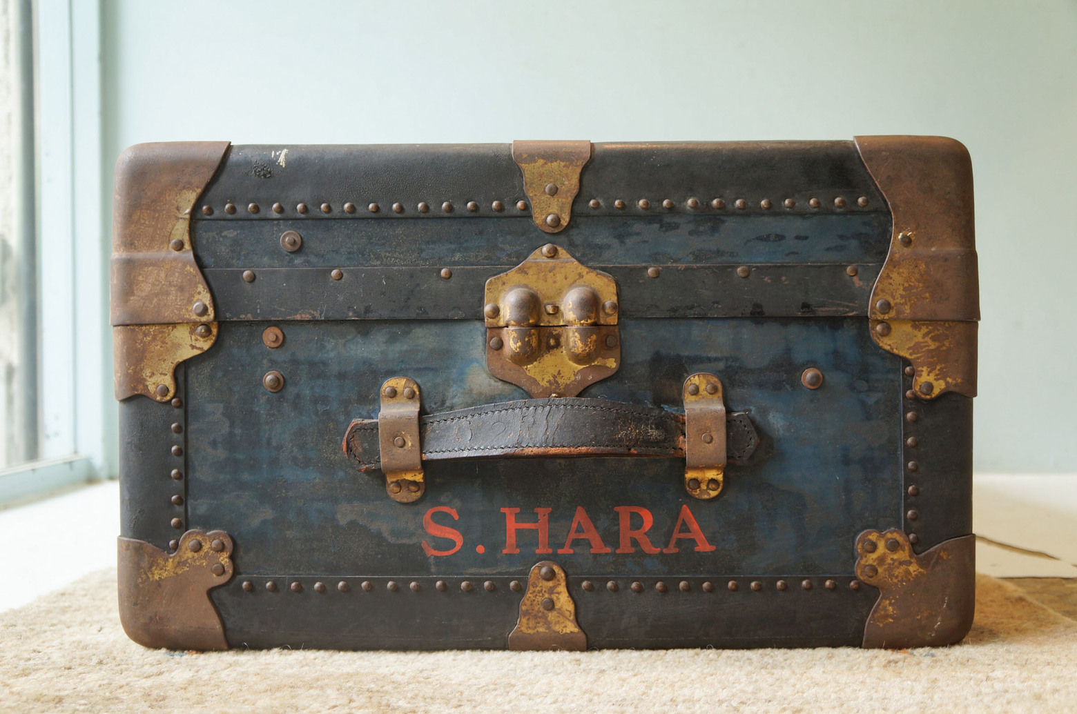 US Antique Steamer Trunk S&S TRUNK AND BAG COMPANY/アメリカ アンティーク スチーマートランク スーツケース ディスプレイ チェスト ボックス 収納 1