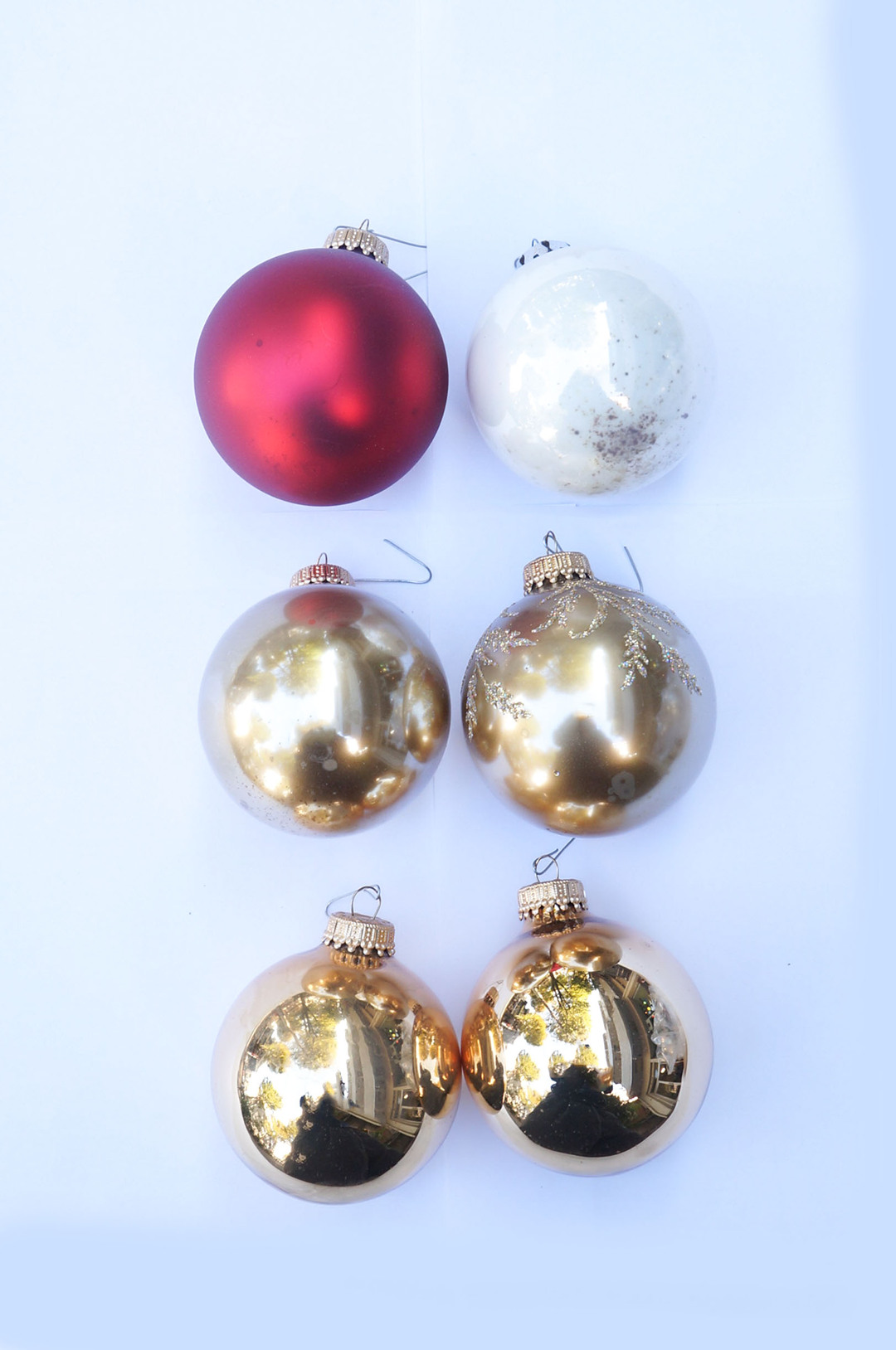 Vintage Blown Glass Christmas Ball Ornament/ヴィンテージ クリスマス オーナメント 吹きガラス ボール レトロ 6個セット 6