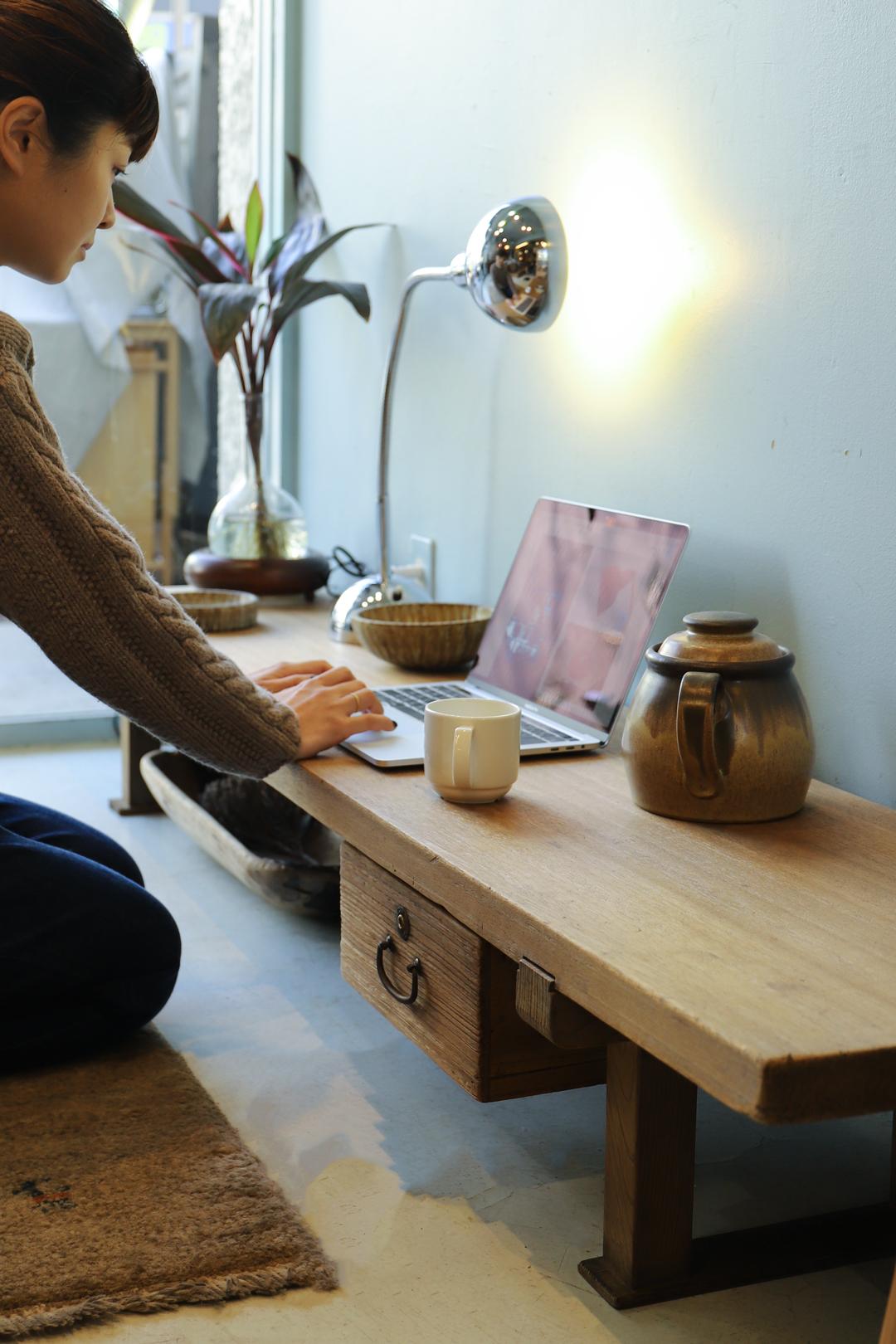 Japanese Vintage Wooden Low Board/ジャパンヴィンテージ ローボード 裁ち台 テレビ台 引き出し 古道具 時代家具
