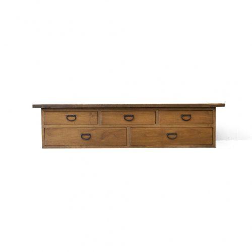 Japanese Vintage Wooden Low Board/ジャパンヴィンテージ ローボード 裁ち台 テレビ台 引き出し 古道具 時代家具 3