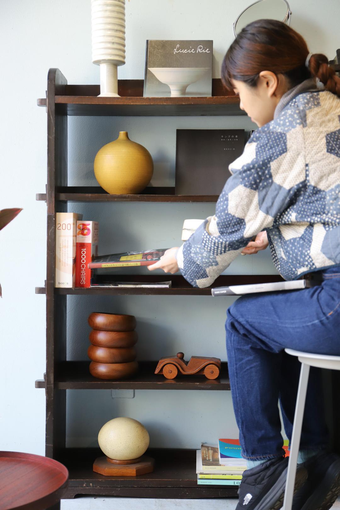Japanese Vintage Wedge Book Shelf/ジャパンヴィンテージ 本棚 ブックシェルフ 楔式 収納 古道具 昭和レトロ