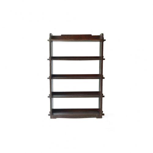 Japanese Vintage Wedge Book Shelf/ジャパンヴィンテージ 本棚 ブックシェルフ 楔式 収納 古道具 昭和レトロ こげ茶 1