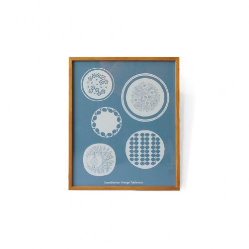 Scandinavian Vintage Tableware Poster Frame/北欧、暮らしの道具店 北欧のお皿 オリジナルポスター 額 シルクスクリーン インテリア ナチュラル