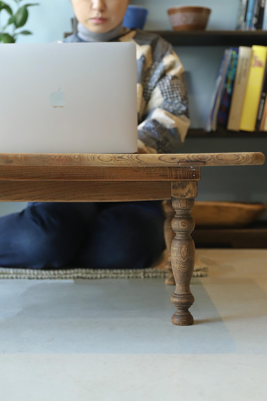 Japanese Vintage Modern Low Table/ジャパンヴィンテージ 座卓 ローテーブル ろくろ脚 レトロ シャビー 和モダン
