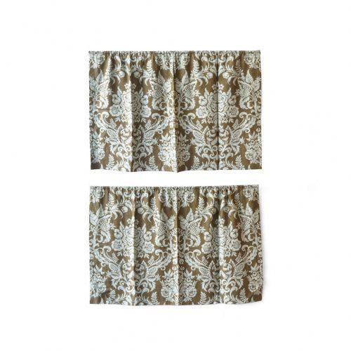 American Retro Fabric Damask Print/アメリカンファブリック レトロ 布 カーテン クロス キルト ハンドメイド インテリア ダマスク柄 2枚セット