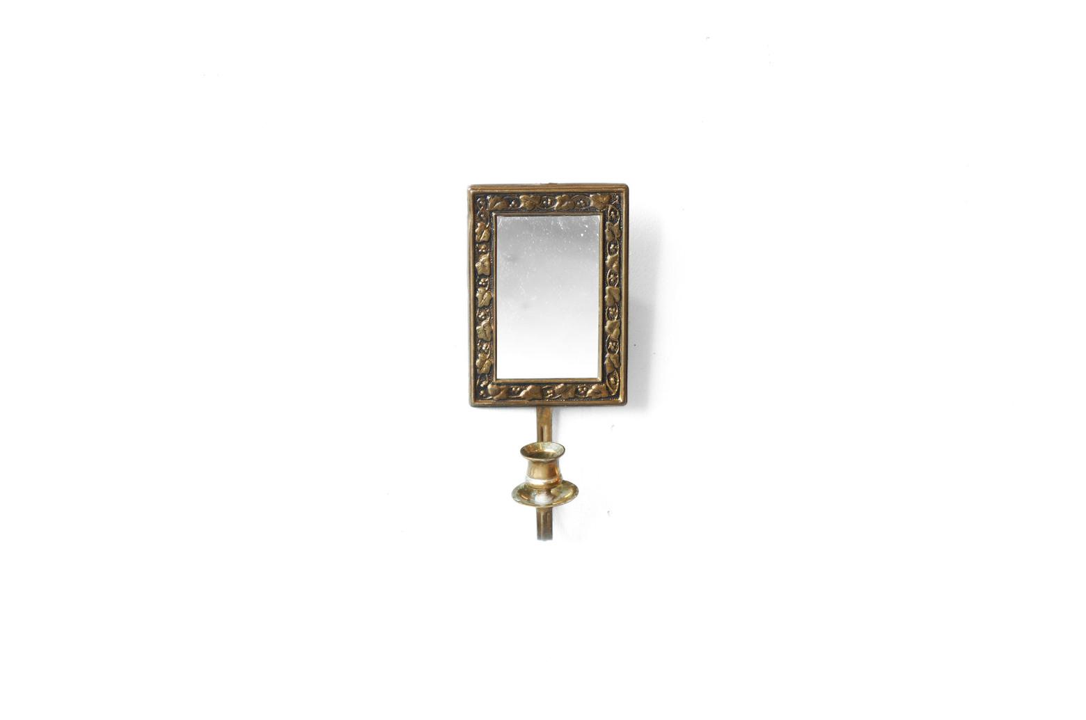 UK Vintage Brass Wall Mirror Candle Holder/イギリスヴィンテージ ウォールミラー キャンドルホルダー 真鍮 レリーフ インテリア