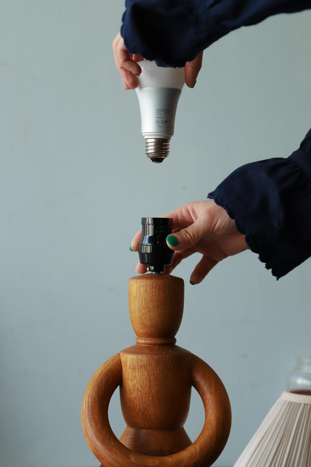 Danish Vintage Parquet Doll Table Lamp/デンマークヴィンテージ ドールテーブルランプ 照明 寄木細工 パーケット 無垢材 北欧インテリア