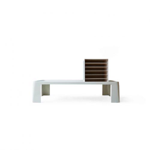 White Painting Table and Shelf Modern Design/ユーロモダン テーブル シェルフ ホワイトカラー ミッドセンチュリー インテリア
