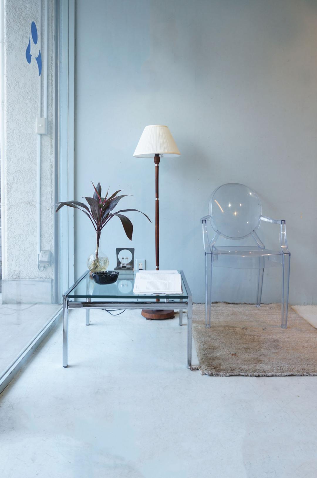 Glass Top Chromed Steel Square Center Table/ガラストップ スクエア センターテーブル クローム ローテーブル イタリアンモダン