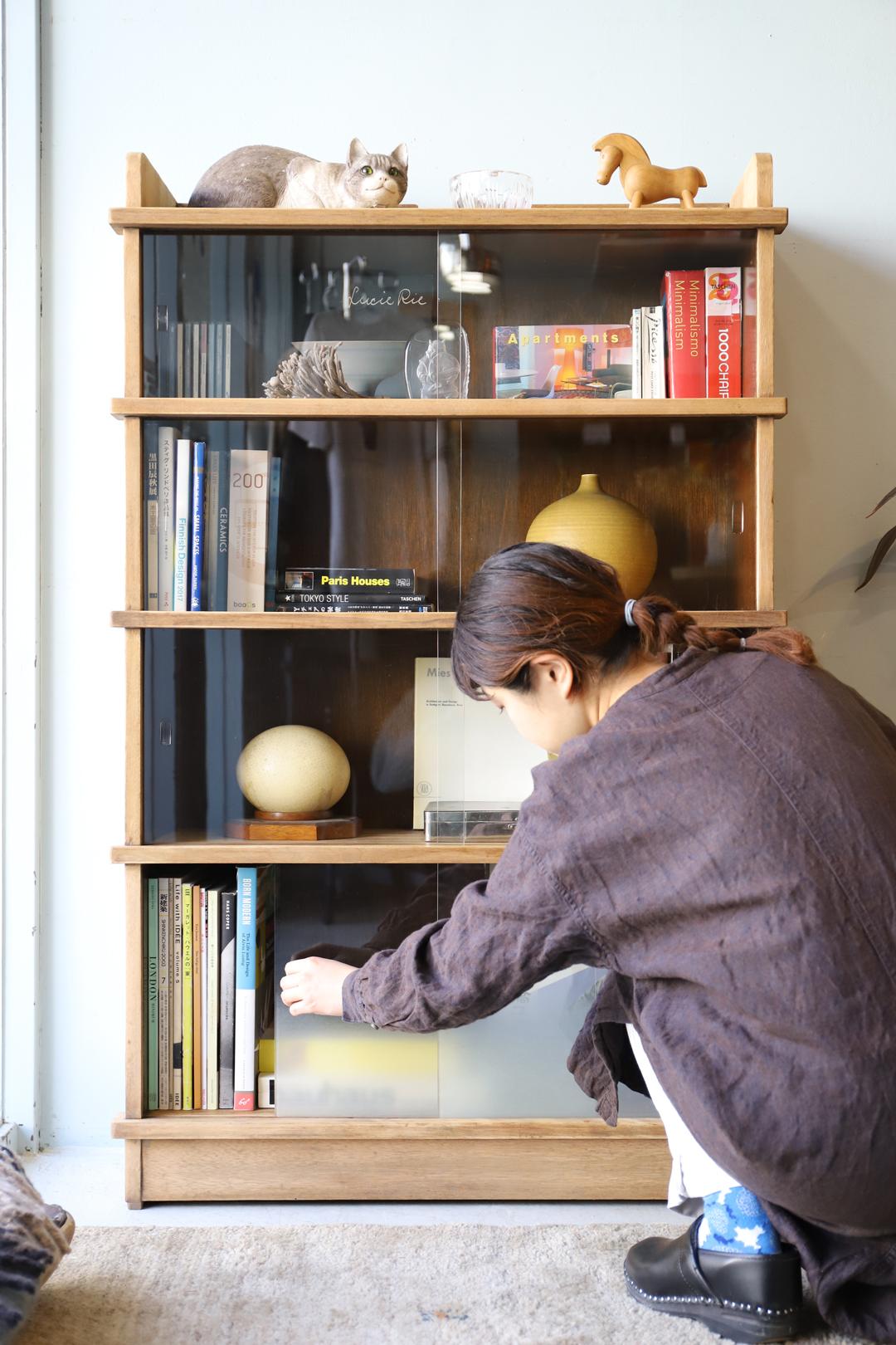 Japanese Vintage Glass Cabinet Book Shelf/ジャパンヴィンテージ 本棚 ガラスキャビネット 食器棚 レトロモダン 収納 シャビーシック